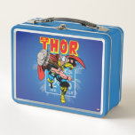 "Thor Retro Comic Price Graphic Metal Lunch Box<br><div class=""desc"">Check out this vintage comic book art of Thor throwing his hammer,  overlaid atop the retro comic book price info panel as seen on his original comic book series!</div>"