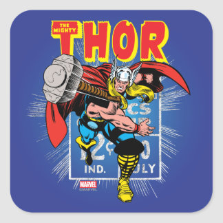 Thor Retro Comic Price Graphic Square Sticker