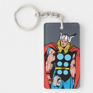 Thor Standing Tall Retro Comic Art Keychain