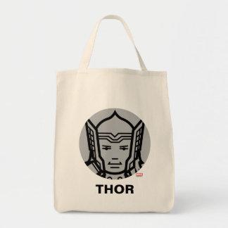Thor Stylized Line Art Icon Tote Bag