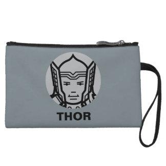 Thor Stylized Line Art Icon Wristlet Wallet
