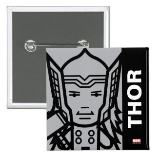 Thor Stylized Line Art Pinback Button