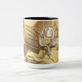 Thor Throwing Mjolnir Two-Tone Coffee Mug