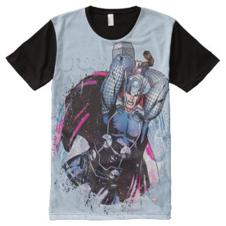 Thor Watercolor Character Graphic All-Over-Print Shirt