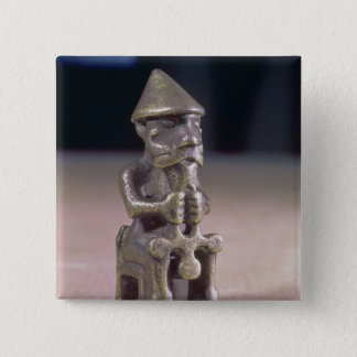 Thor with a hammer, statuette found in Iceland Pinback Button