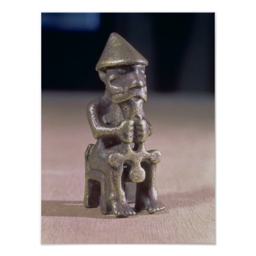 Thor with a hammer, statuette found in Iceland Print