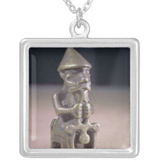 Thor with a hammer, statuette found in Iceland Square Pendant Necklace