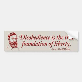 Thoreau Civil Disobedience Bumper Sticker Car Bumper Sticker