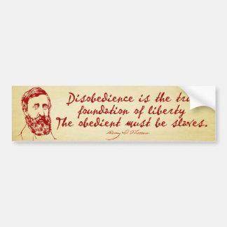 Thoreau Disobedience Bumper Sticker Car Bumper Sticker