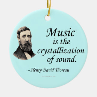 Thoreau en sonido y música adorno navideño redondo de cerámica