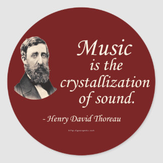 Thoreau en sonido y música pegatina redonda