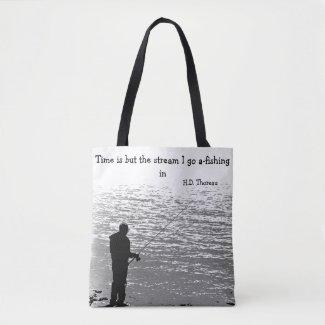 Thoreau Fishing Time Quotation Tote Bag