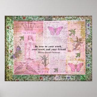 Thoreau Inspirational Friendshp quote  art Print