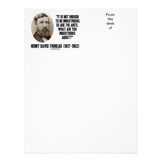 Thoreau Not Enough To Be Industrious So Are Ants Letterhead