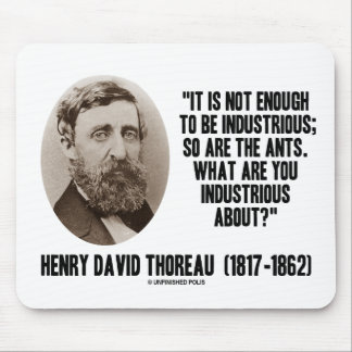 Thoreau Not Enough To Be Industrious So Are Ants Mouse Pad