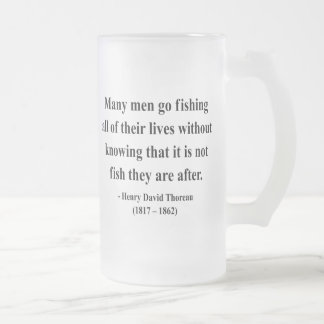 Thoreau Quote 8a Frosted Glass Beer Mug