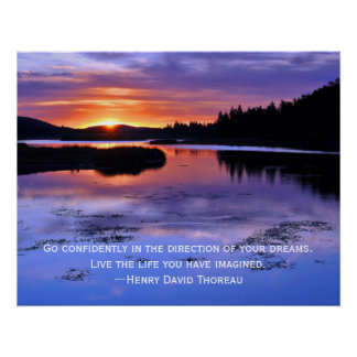 Thoreau quote and Big Bear Sunrise Poster