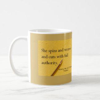 Thoreau quote for spinner, weaver, fabric artist coffee mug