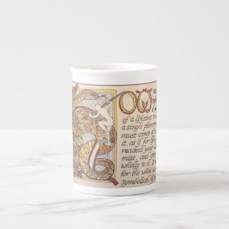 Thoreau quote in script, with decorated capital tea cup