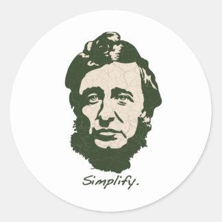 Thoreau - simplifique pegatina redonda