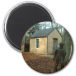 Thoreau's statue and cabin magnets