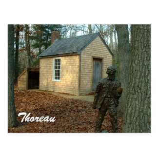 Thoreau's statue and cabin postcard