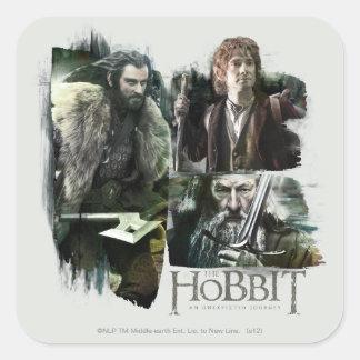 Thorin Bilbo y logotipo de Gandalf Calcomanías Cuadradas
