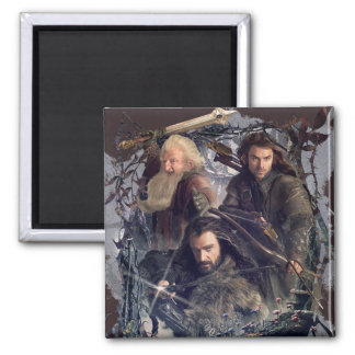 Thorin, Kili, and Balin Graphic 2 Inch Square Magnet