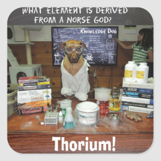 Thorium Thor God of Thunder Knowledge Dog Square Sticker