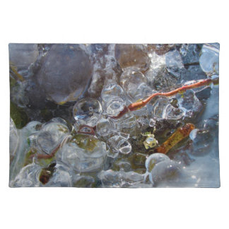 Thorn in Round Bubbles of Ice from Freezing Rain Cloth Placemat