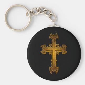 Thorn Spiked Cross Design Basic Round Button Keychain