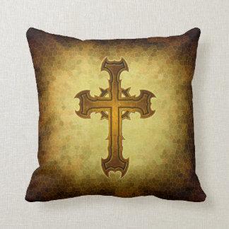 Thorn Spiked Cross Design Throw Pillow
