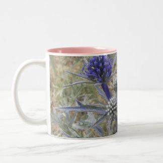 Thorny Mediterranean Flower blue Two-Tone Coffee Mug