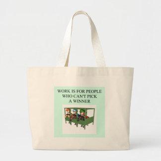 thorough bred horse racing design jumbo tote bag