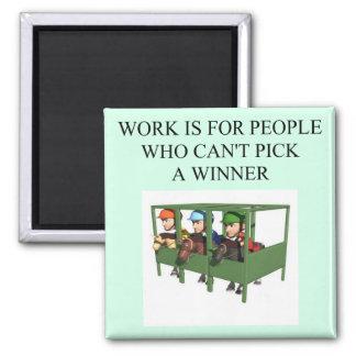 thorough bred horse racing design fridge magnet