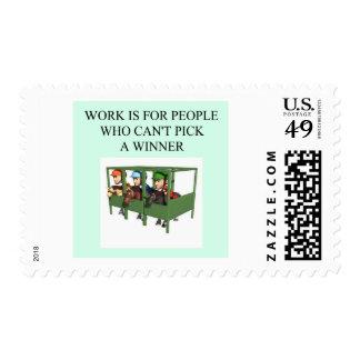 thorough bred horse racing design stamp