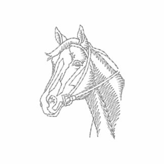 Thoroughbred Head Outline Embroidered Hooded Sweatshirt