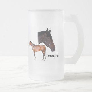 Thoroughbred Horse Frosted Glass Beer Mug