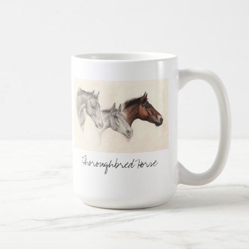 Thoroughbred horse in pencil and watercolour coffee mug