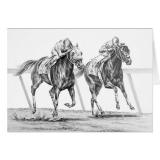 Thoroughbred Horse Race Drawing by Kelli Swan Greeting Card