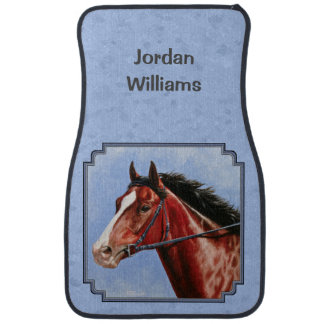Thoroughbred Horse Racehorse Blue Car Floor Mat