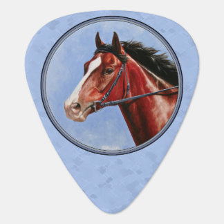 Thoroughbred Horse Racehorse Blue Guitar Pick