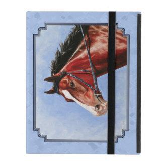 Thoroughbred Horse Racehorse Blue iPad Folio Case