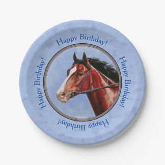 Thoroughbred Horse Racehorse Blue Paper Plate