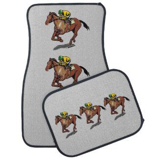 Thoroughbred Horse Racing and Jockey Car Floor Mat