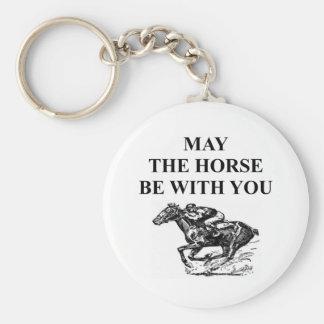 thoroughbred horse racing basic round button keychain