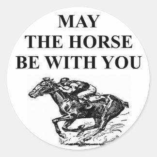 thoroughbred horse racing classic round sticker