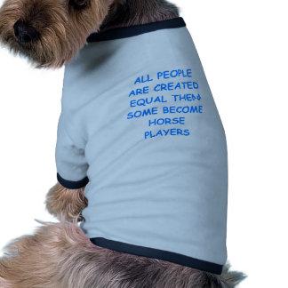 thoroughbred horse racing dog t-shirt