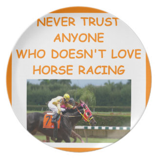 thoroughbred horse racing party plate