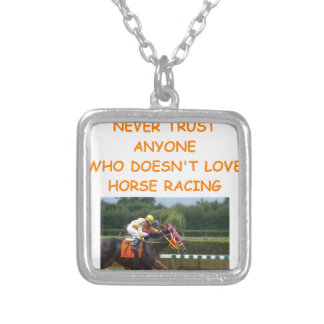 thoroughbred horse racing square pendant necklace